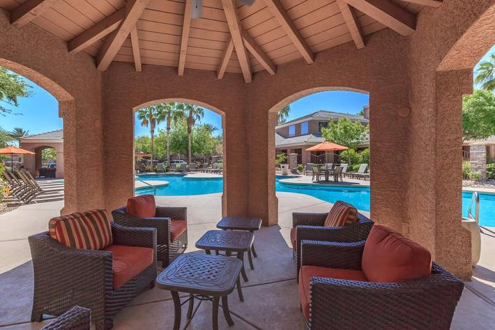 Relax in One of  Our Pool Side Cabanas