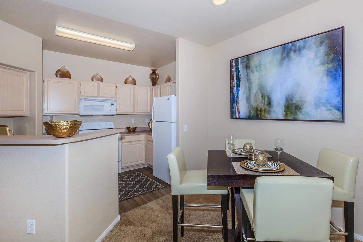 Del Mar Kitchen with Breakfast Bar at The Equestrian on Eastern Apartments in Henderson, NV