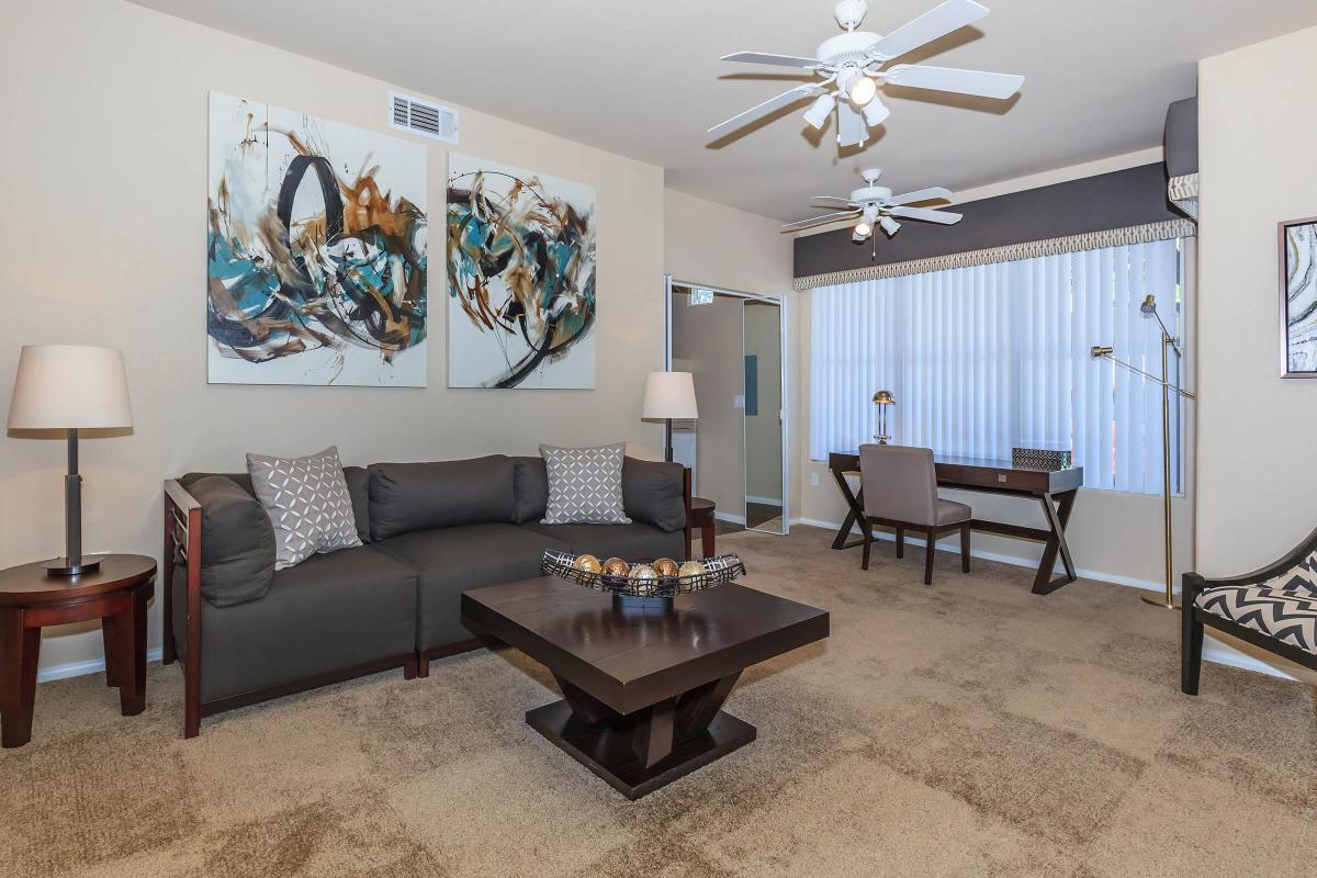 Del Mar Living Room at The Equestrian on Eastern Apartments