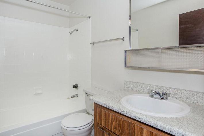This is a modern bathroom at Sundance Village