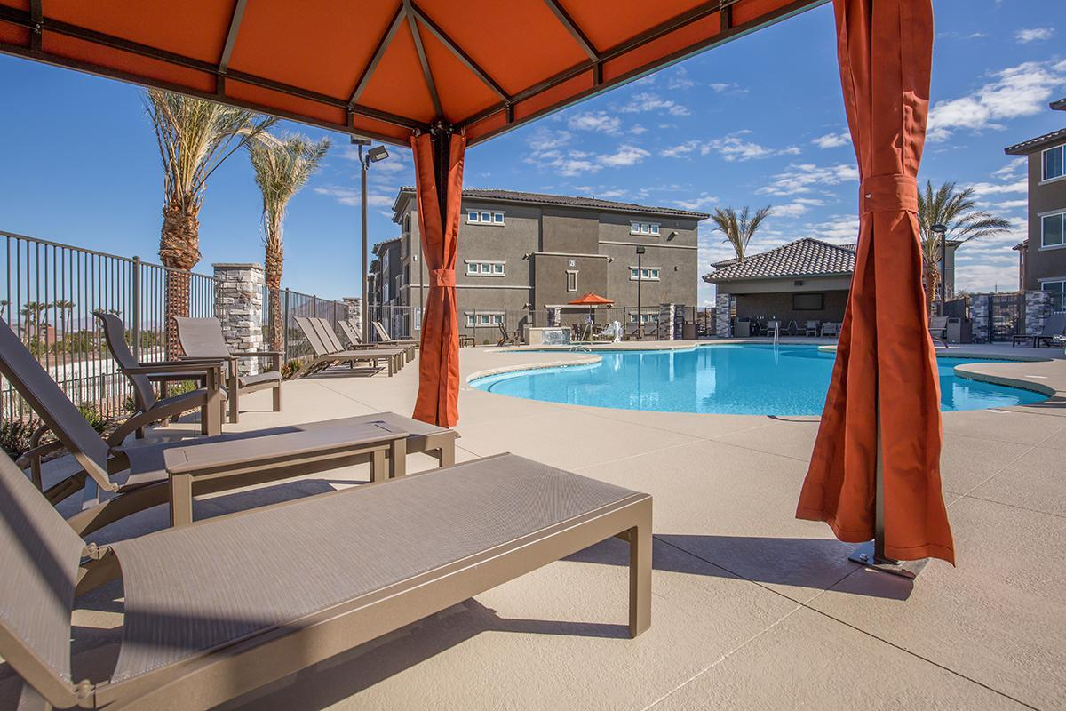 Poolside Cabanas at The Passage Apartments in Henderson, NV