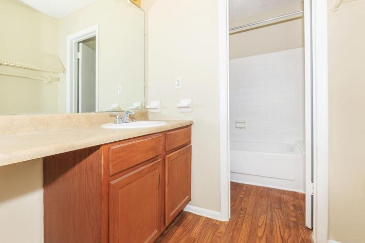 One bedroom modern bathroom here at Riverview Apartments in Jacksonville, Florida