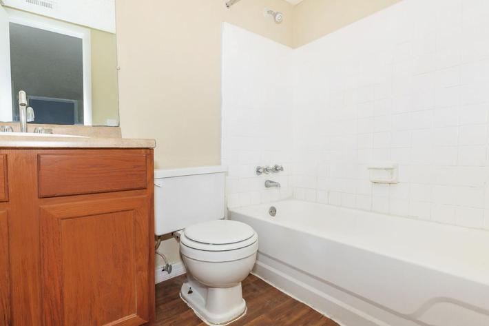 Three bedroom chic bathroom here at Riverview Apartments in Jacksonville, Florida
