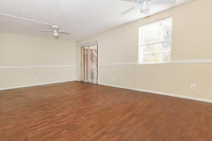 Three bedroom living room here at Riverview Apartments in Jacksonville, Florida