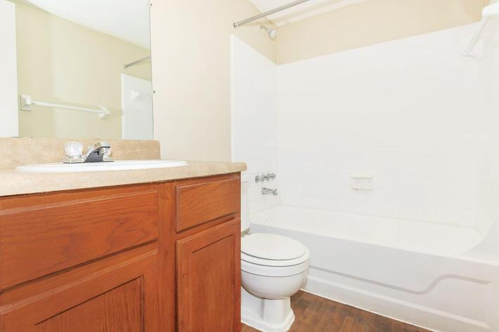 Three bedroom modern bathroom here at Riverview Apartments in Jacksonville, Florida