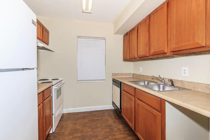 Three bedroom modern kitchen here at Riverview Apartments in Jacksonville, Florida