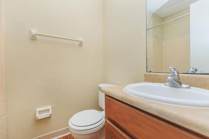 Two bedroom modern bathroom here at Riverview Apartments in Jacksonville, Florida
