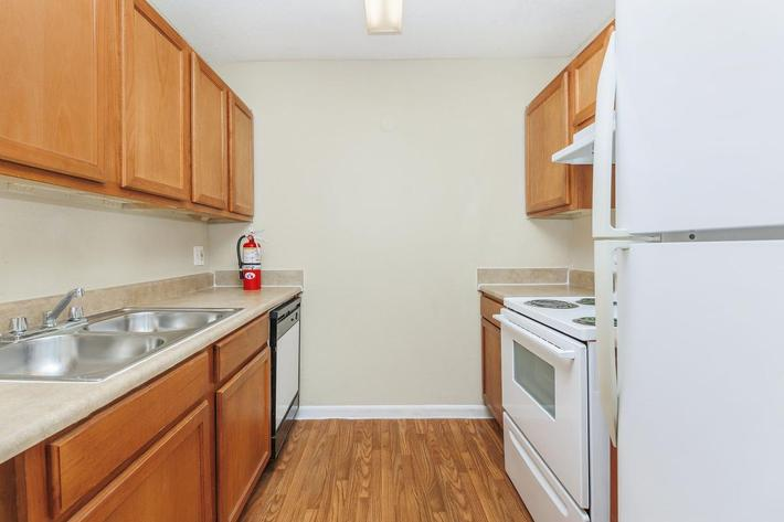 Two bedroom modern kitchen here at Riverview Apartments in Jacksonville, Florida