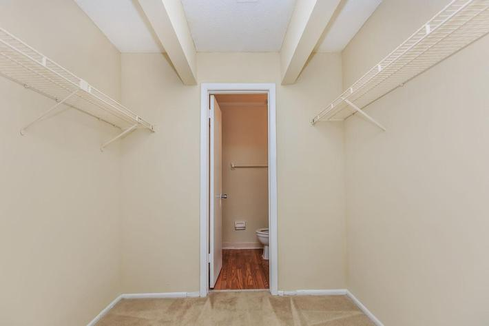 Two bedroom walk-in closet here at Riverview Apartments in Jacksonville, Florida
