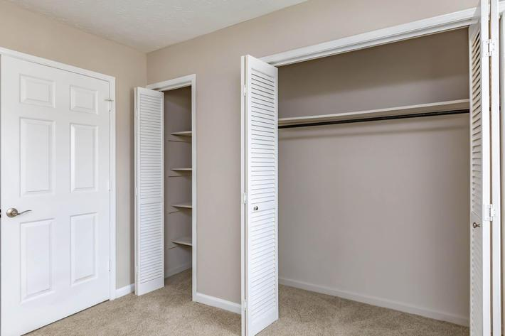 Ample storage space in two bedroom townhome