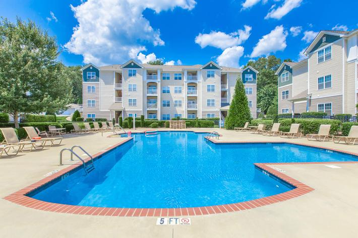 Soak up the rays by the lavish swimming pool at Whisper Creek in Rock Hill, South Carolina.