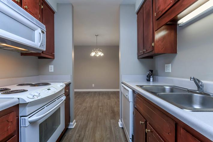 Kitchen in two bedroom apartment at Summertrees