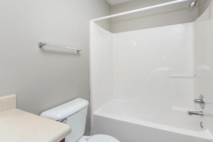 Modern bathroom with tub shower combo