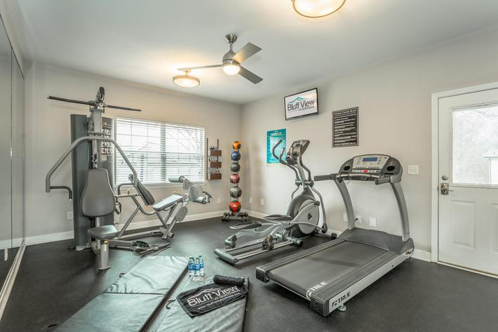 Fitness Center at Bluff View at Northside Apartments