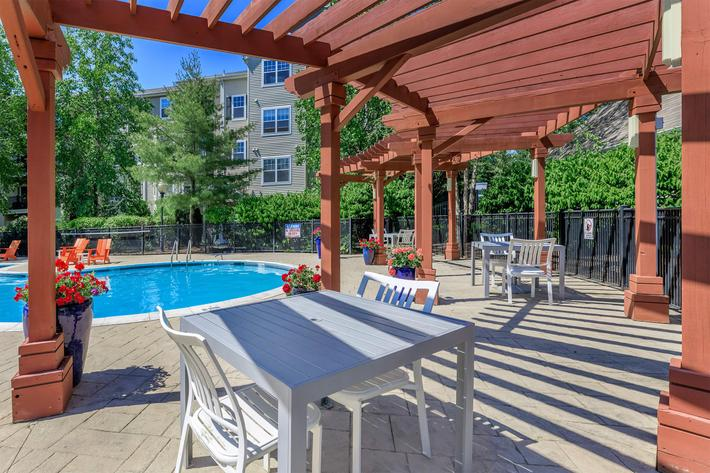 Take a dip in the sparkling swimming pool area