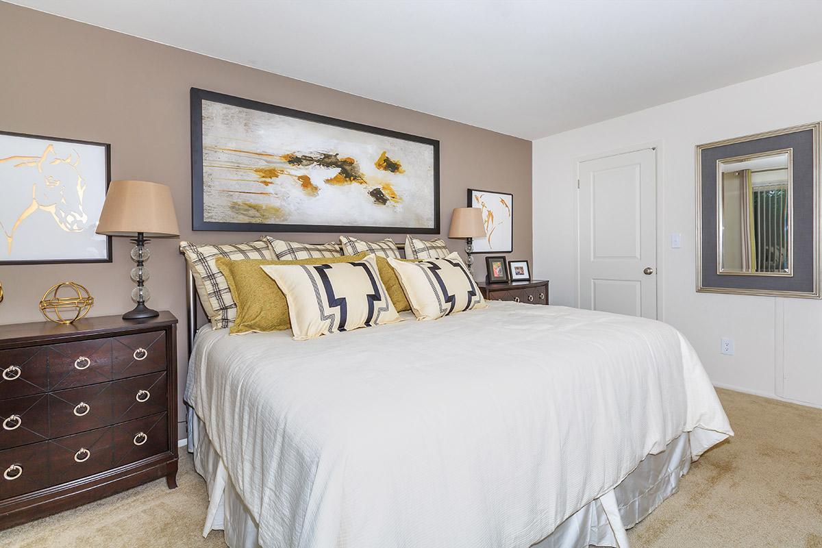 MODERN CARPETED BEDROOM AT SOMERSET PARK APARTMENTS