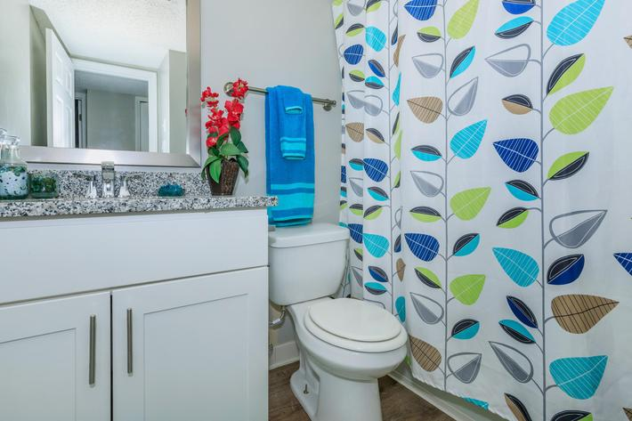 Our bathrooms has ceramic tile at Kingston Pointe Apartments