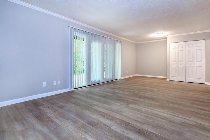 Oversized glass doors at Kingston Pointe Apartments