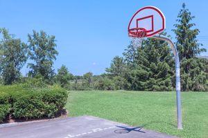 a close up of a basketball hoop