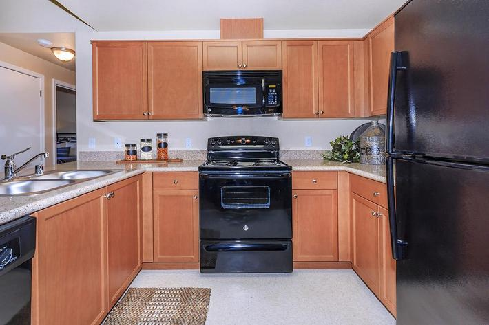 We have sleek black appliances at Boulder Creek