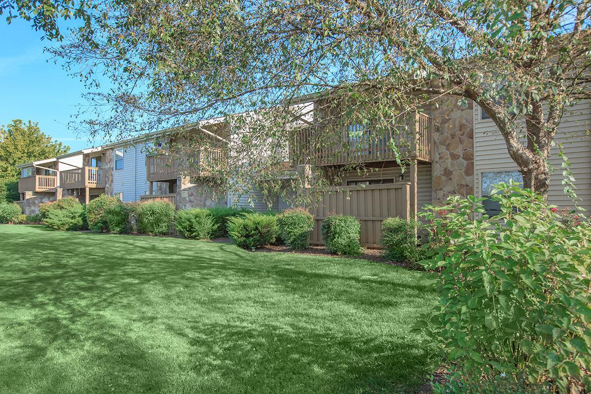 Large Grassy Area with bushes at Laurel Ridge Apartments