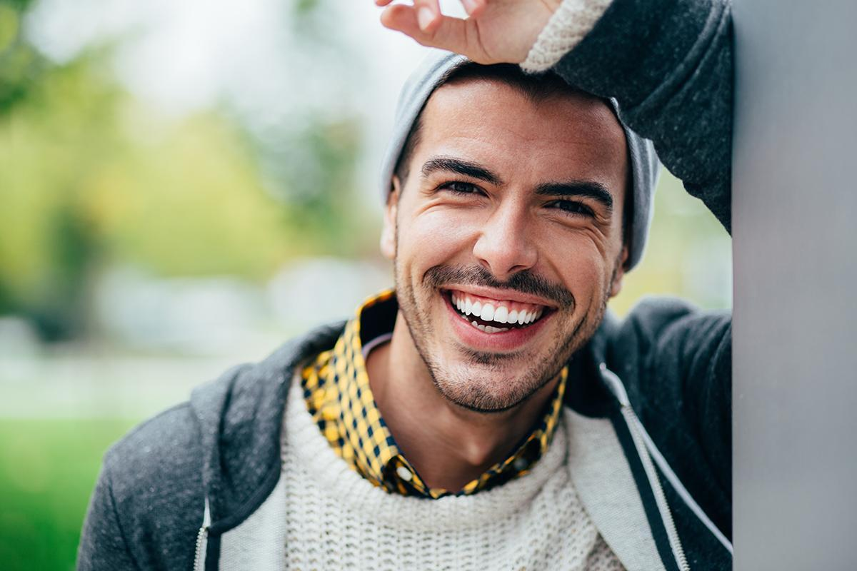 A happily smiling man at Laurel Ridge Apartments in Chattanooga, Tennessee
