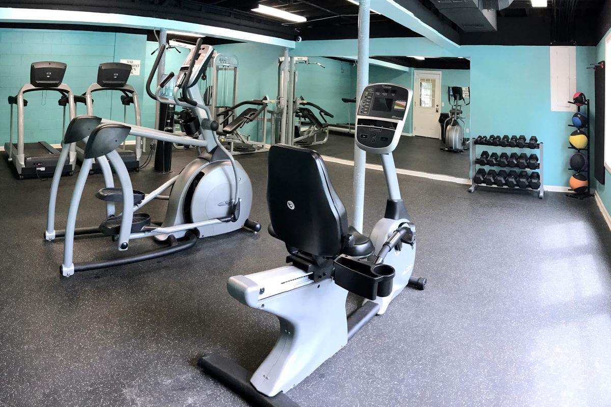 A state-of-the-art Fitness Center here at Laurel Ridge Apartments.