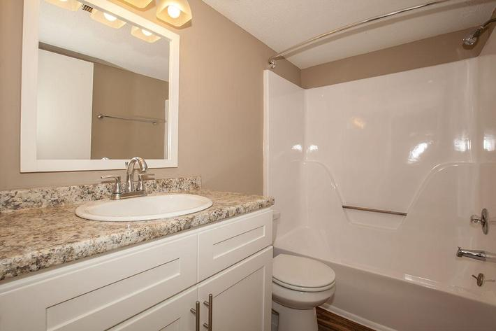 Chic Bathroom Here at The Bradford Deluxe at Laurel Ridge Apartments in Chattanooga, TN