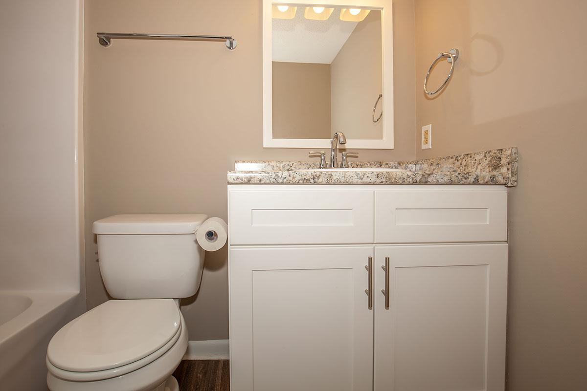 Contemporary bath fixtures at The Bradford Deluxe at Laurel Ridge Apartments in Chattanooga, TN