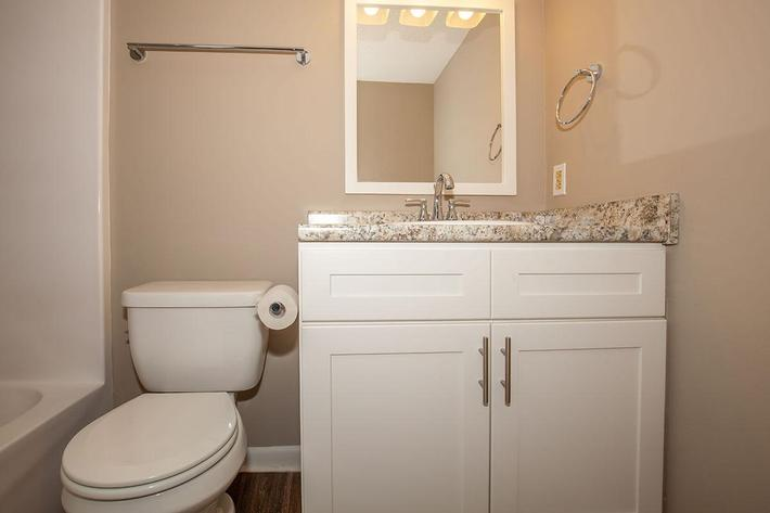 Modern Bathroom Here at The Bradford Deluxe at Laurel Ridge Apartments in Chattanooga, TN