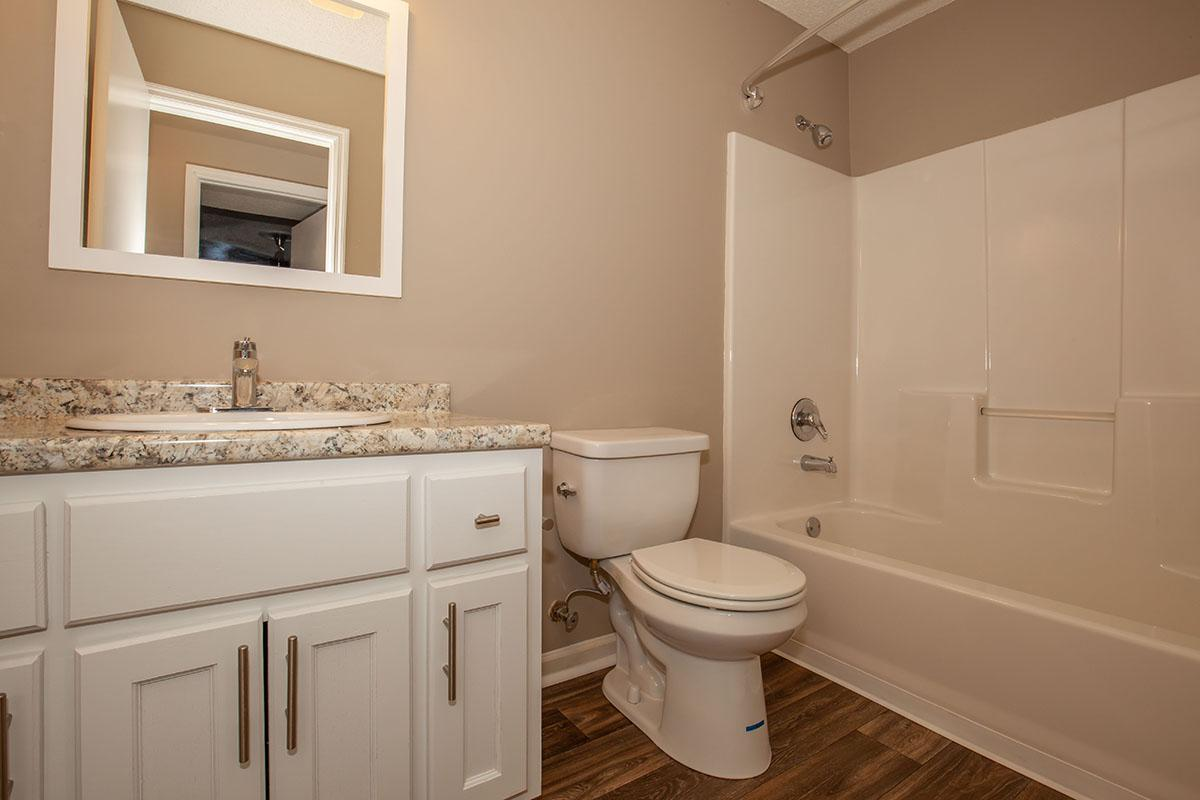 Modern bathrooms with white cabinets