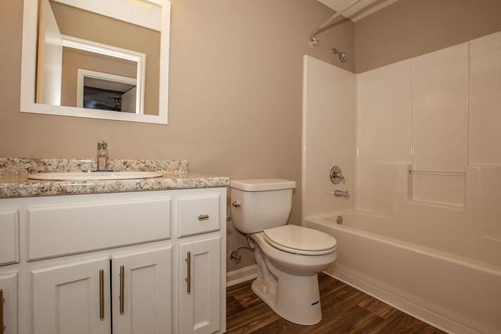 Modern Bathrooms at The Dogwood at Laurel Ridge Apartments in Chattanooga, Tennessee