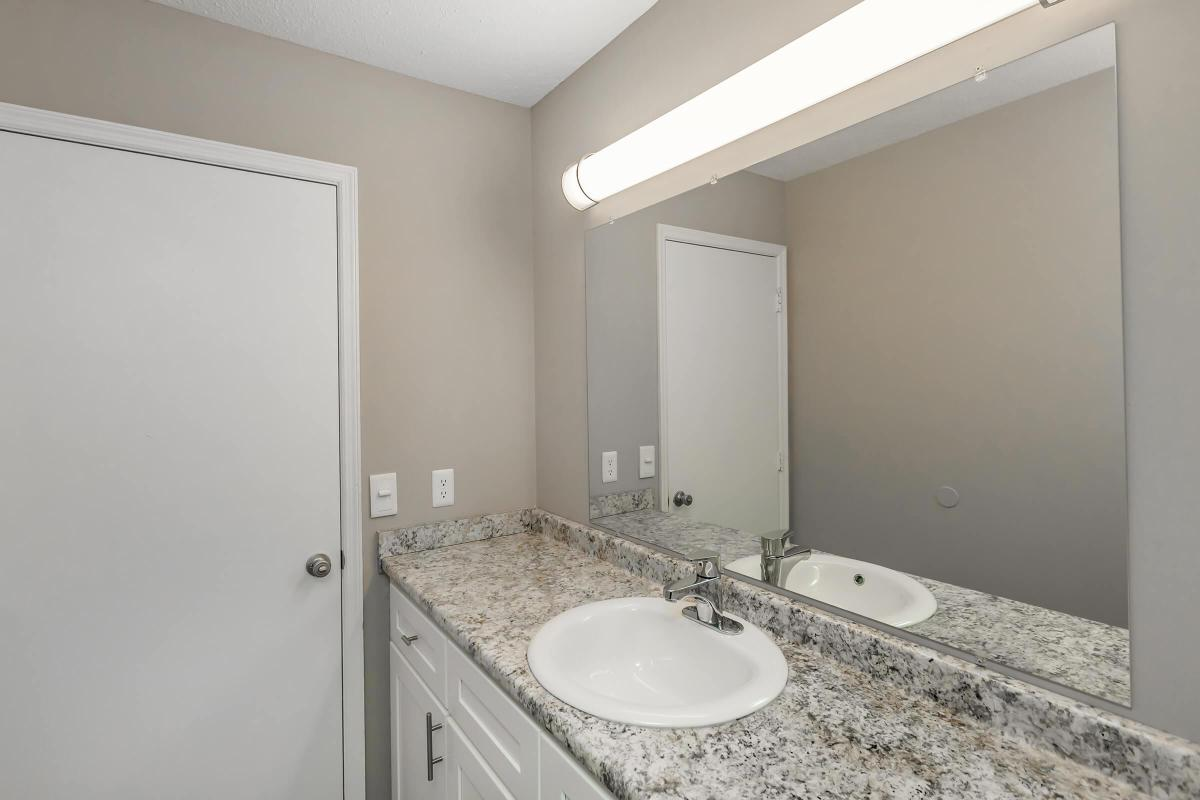 Chic Bathroom Here at The Magnolia at Laurel Ridge Apartments in Chattanooga, Tennessee