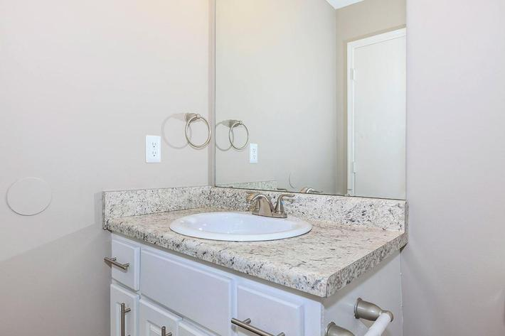 Lovely Bathroom Countertops at The Willow at Laurel Ridge Apartments in Chattanooga, TN