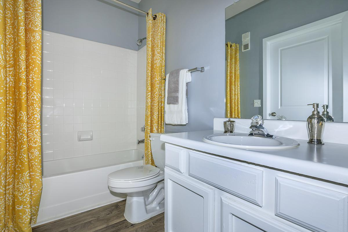 WHITEWASHED-STYLE CABINETS IN BATHROOM