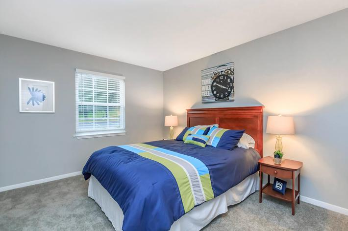 Plush carpeted bedrooms at Graymere in Columbia, Tennessee