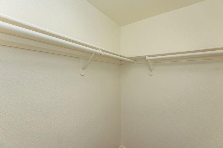 Walk-in closets in La Posada apartments for rent
