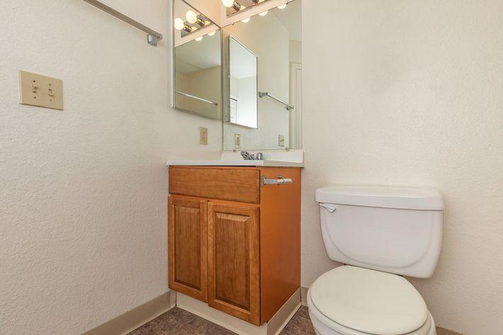 Tile floors in bathroom at La Posada