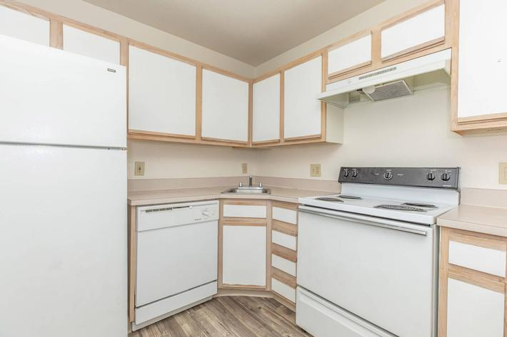 All-electric kitchen in three bedroom apartment for rent