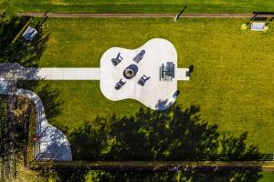 Guitar Shaped Patio with Grill