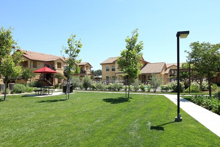 This is the beautiful landscaping of Villa Siena Apartments