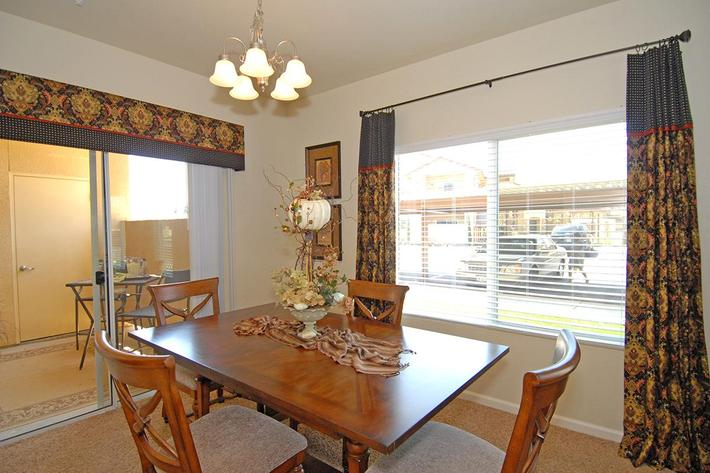 We have open dining areas at Villa Siena Apartments