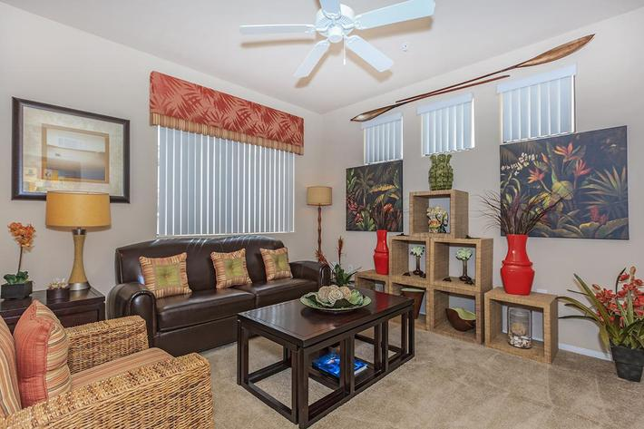 Ceiling Fans and Carpeted Floors in Homes at The Preserve Apartments