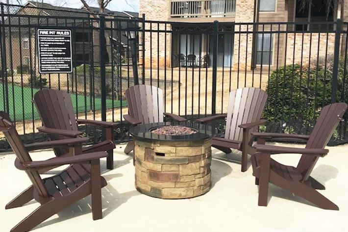 Fire pit at Haywood Pointe in Greenville, South Carolina.