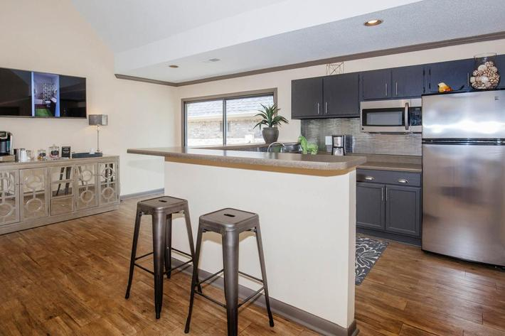 Modern kitchen at Haywood Pointe in Greenville, South Carolina.