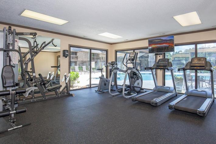 State-of-the-art fitness center at Haywood Pointe in Greenville, South Carolina.