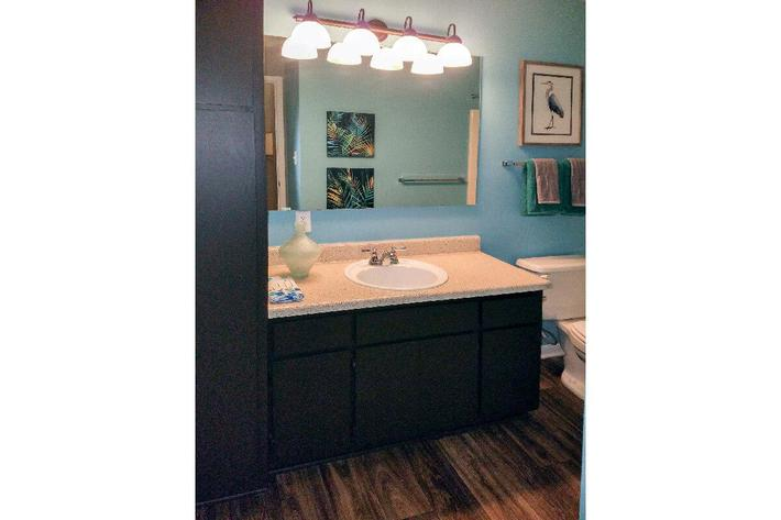 Modern bathrooms at Haywood Pointe in Greenville, South Carolina.