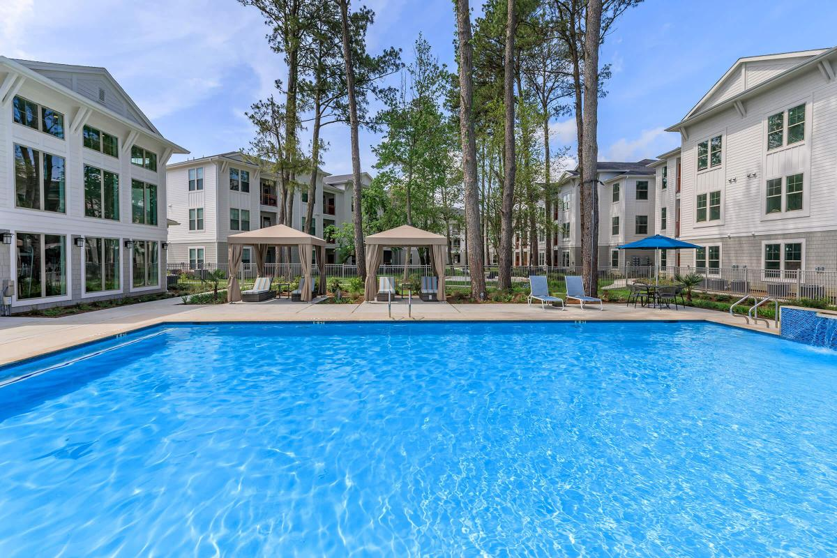 Cabanas available poolside at Ariza Gosling in Spring, TX