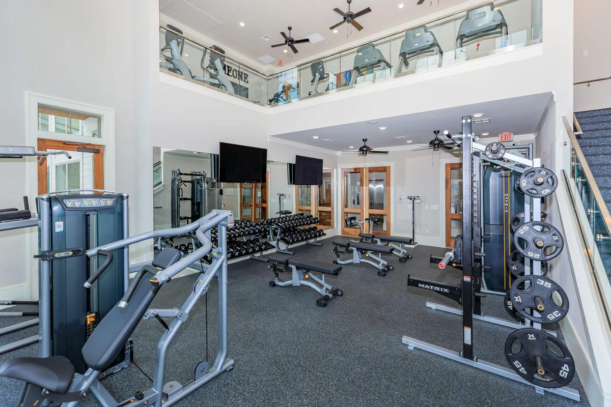 State-of-the-art fitness center here at Ariza Gosling in Spring, TX