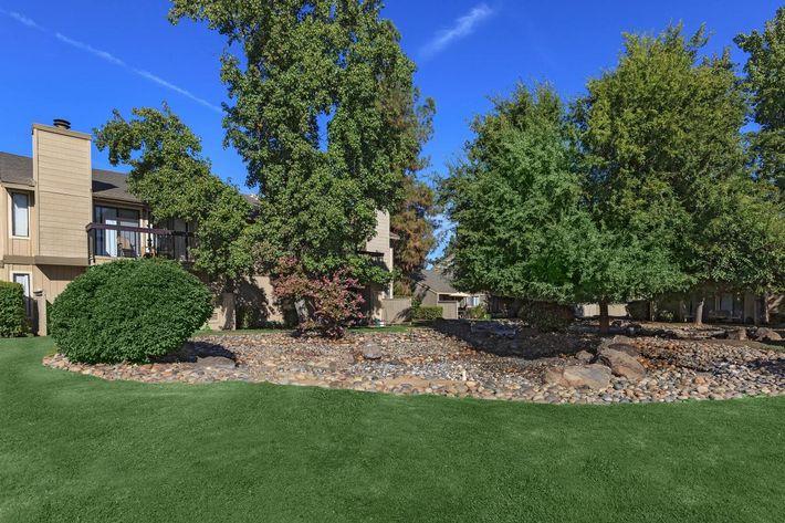 Cobblestone Village has lush landscaping